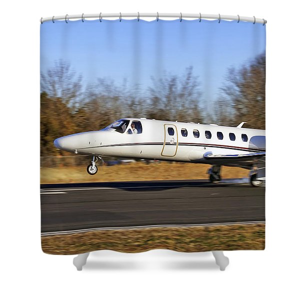 Cessna Citation Touchdown Shower Curtain