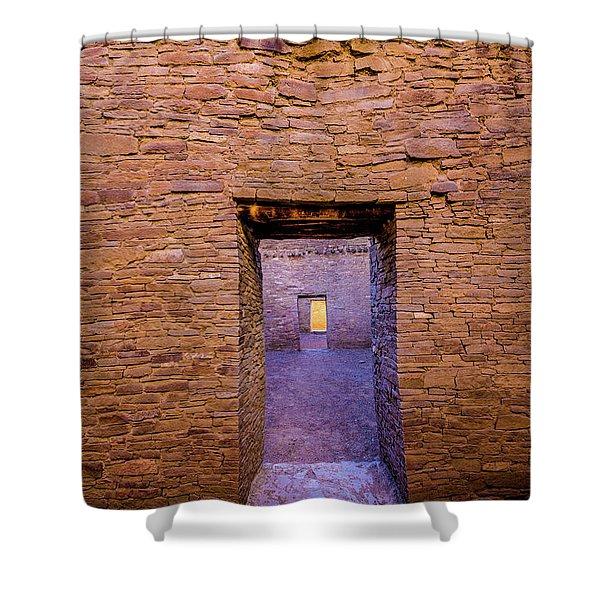 Chaco Canyon - Pueblo Bonito Doorways - New Mexico Shower Curtain