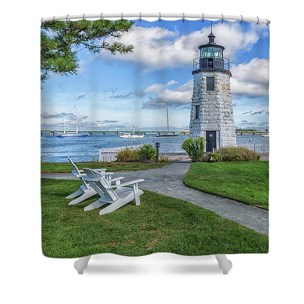 Chairs At Newport Harbor Lighthouse Shower Curtain