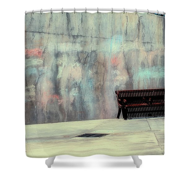 Chalk N Bench Shower Curtain