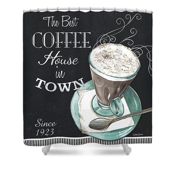 Chalkboard Retro Coffee Shop 2 Shower Curtain