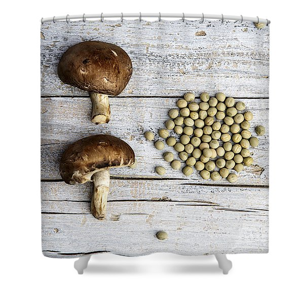 Champignons, Peas And Pepper Shower Curtain