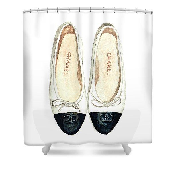 Chanel Ballet Flats Classic Watercolor Fashion Illustration Coco Quotes Vintage Paris Black White Shower Curtain