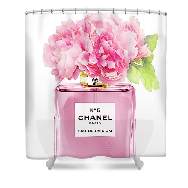 Chanel N5 Pink With Flowers Shower Curtain