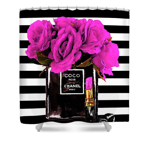 Chanel Noir Perfume With Flowers Shower Curtain