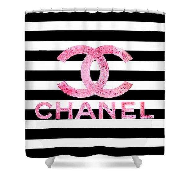 Chanel Pink Logo On Stripes Shower Curtain