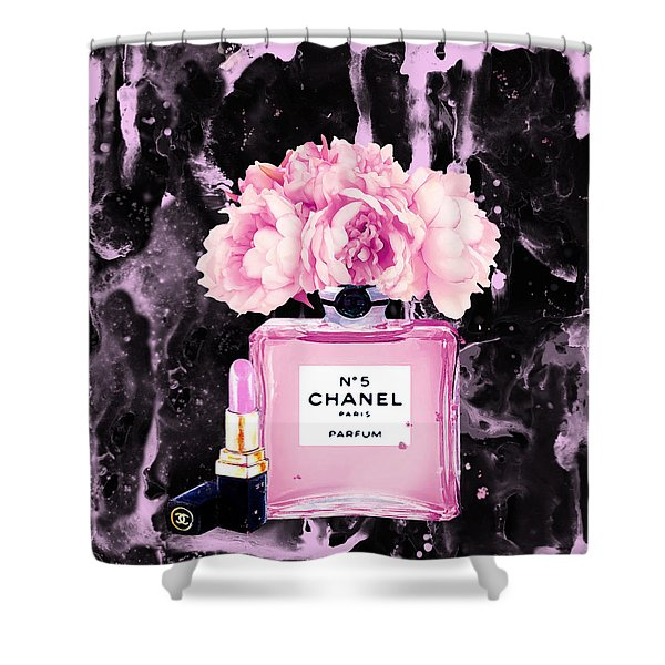 Chanel Print Chanel Poster Chanel Peony Flower Black Watercolor Shower Curtain