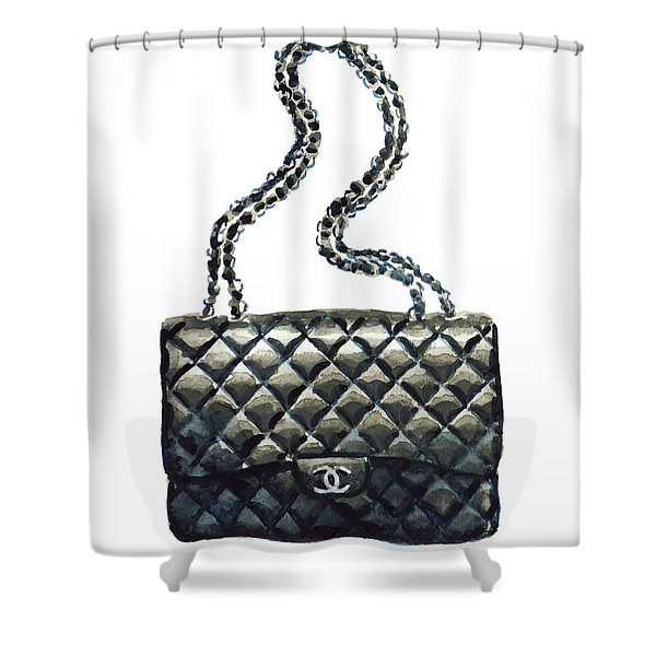Chanel Quilted Handbag Classic Watercolor Fashion Illustration Coco Quotes Shower Curtain