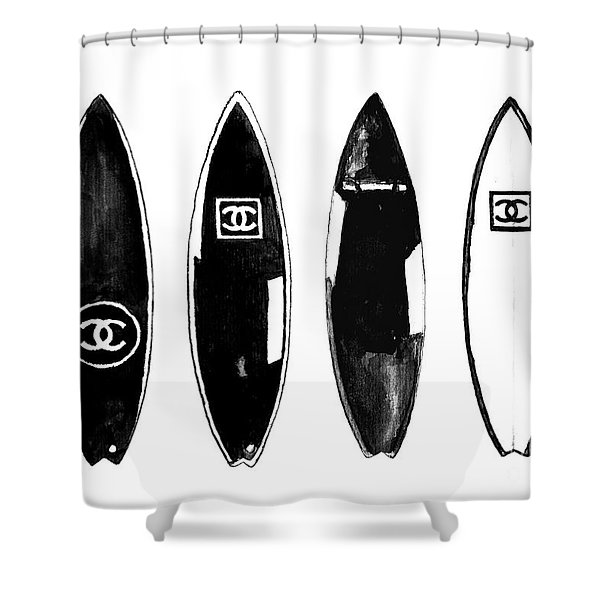 Chanel Surfboard  Black And White Shower Curtain