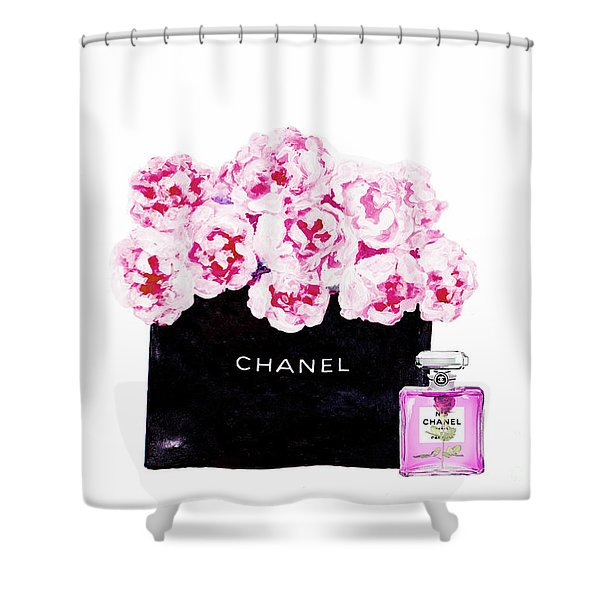 Chanel With Flowers Shower Curtain