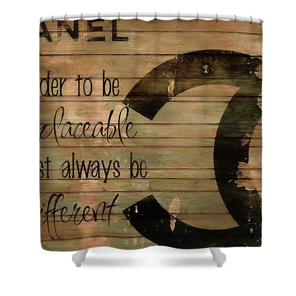 Chanel Wood Panel Rustic Quote Shower Curtain