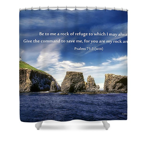 Channel Island National Park - Anacapa Island Arch With Bible Verse Shower Curtain