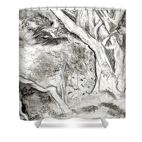 Charcoal Copse Shower Curtain