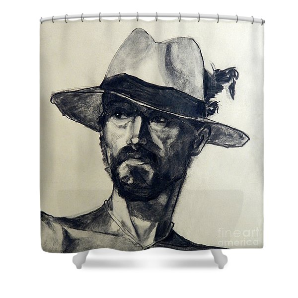 Charcoal Portrait Of A Man Wearing A Summer Hat Shower Curtain