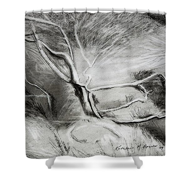 Charcoal Tree Shower Curtain