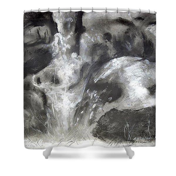 Charcoal Waterfall Shower Curtain