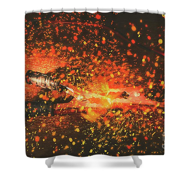 Charged Up Workshop Art Shower Curtain