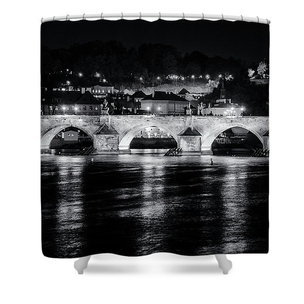 Charles Bridge Prague Night Shower Curtain