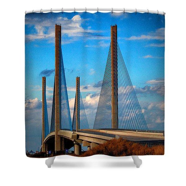Charles W Cullen Bridge South Approach Shower Curtain