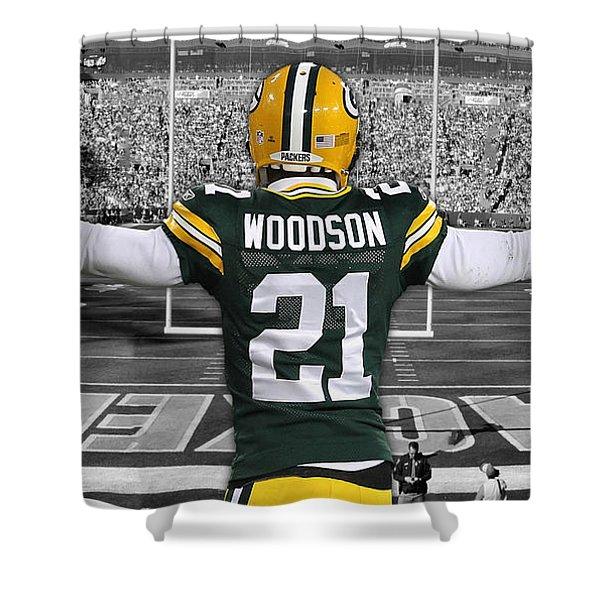 Charles Woodson Green Bay Packers Stadium Art 2 Shower Curtain