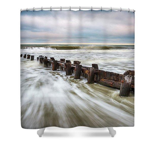Charleston Sc Folly Beach - Push Shower Curtain