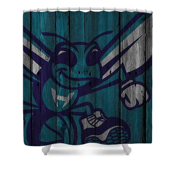 Charlotte Hornets Wood Fence Shower Curtain