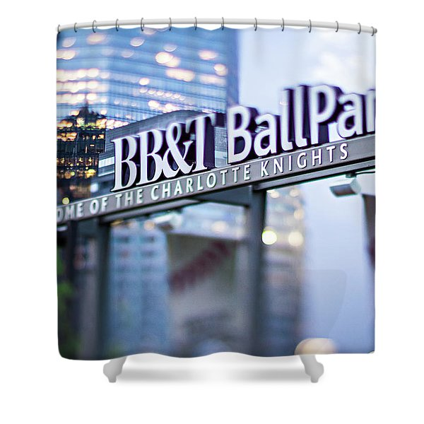 Shower Curtain featuring the photograph  Charlotte Nc Usa  Bbt Baseball Park Sign  by Alex Grichenko