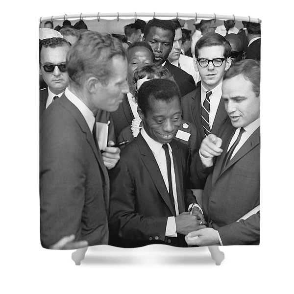 Charlton Heston James Baldwin Marlon Brando Washington D.c. 1963 Shower Curtain