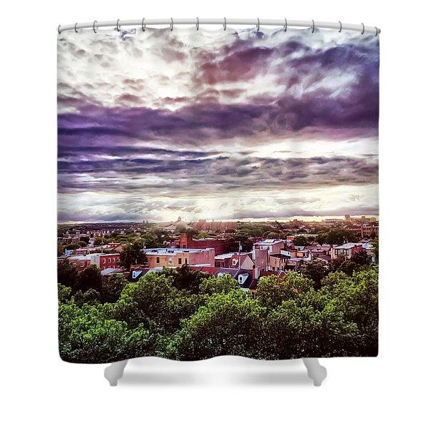 Charm City Sunset Shower Curtain