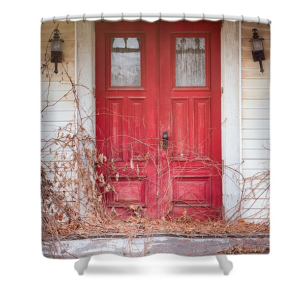 Charming Old Red Doors Portrait Shower Curtain