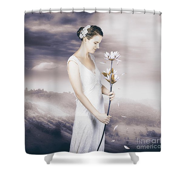 Charming Woman With Romantic Sentiment Shower Curtain