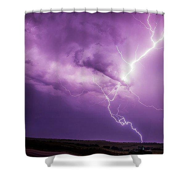 Chasing Nebraska Lightning 018 Shower Curtain