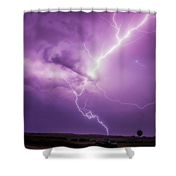 Shower Curtain featuring the photograph Chasing Nebraska Lightning 018 by NebraskaSC