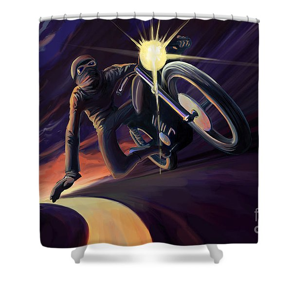 Shower Curtain featuring the painting Chasing The Line Speed Racer by Sassan Filsoof