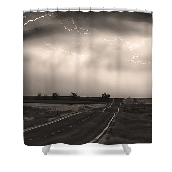 Chasing The Storm - County Rd 95 And Highway 52 - Co- Sepia Shower Curtain by James BO  Insogna