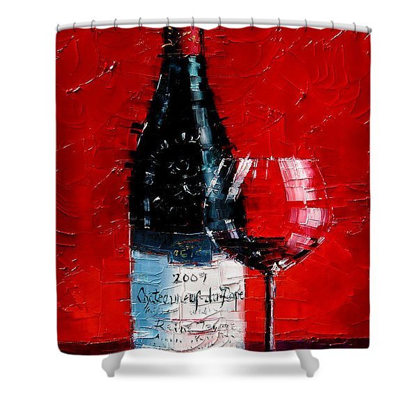 Still Life With Wine Bottle And Glass I Shower Curtain