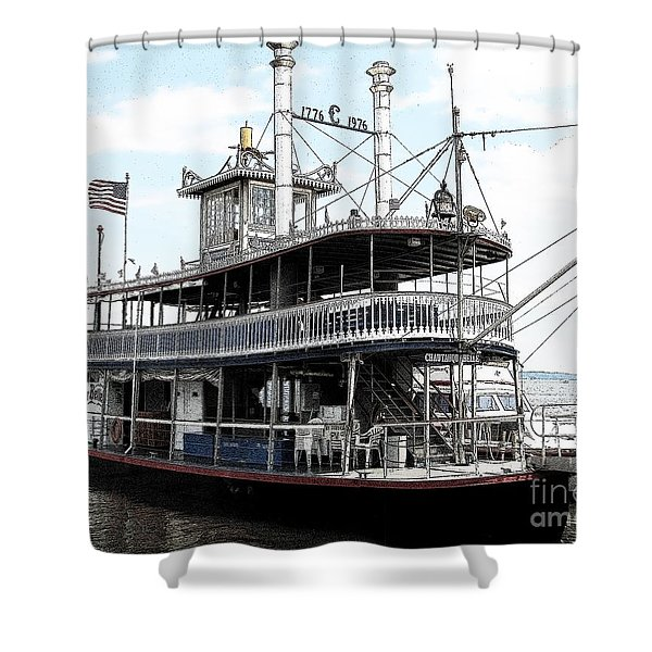 Chautauqua Belle Steamboat With Ink Sketch Effect Shower Curtain