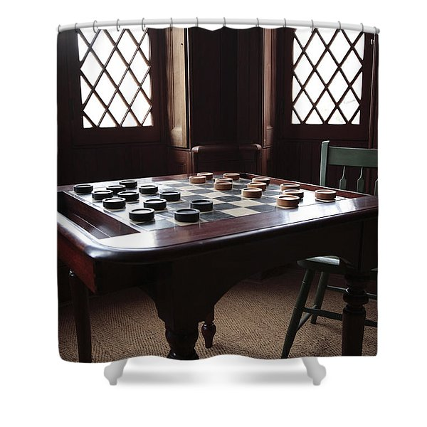 Checkers Table At The Lincoln Cottage In Washington Dc Shower Curtain