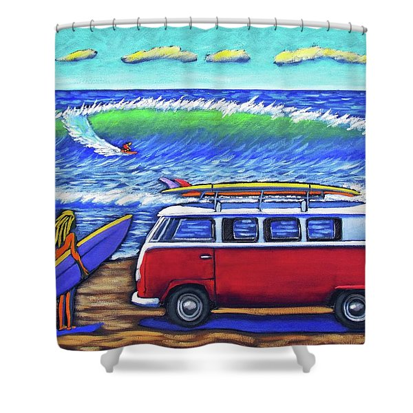 Checking Out The Waves Shower Curtain