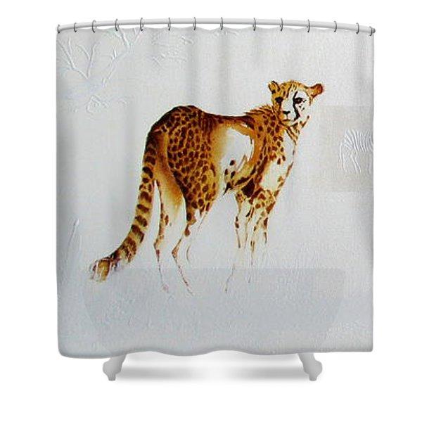Cheetah And Zebras Shower Curtain
