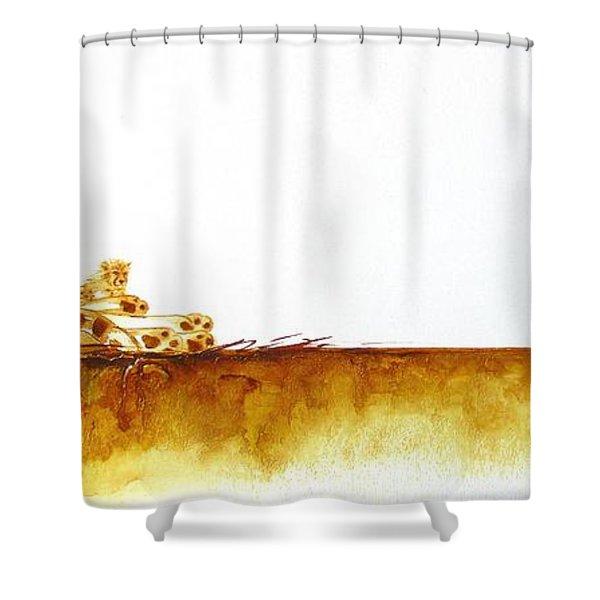 Cheetah Mum And Cubs - Original Artwork Shower Curtain