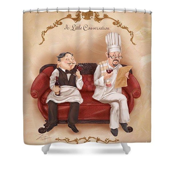 Chefs On A Break-a Little Conversation Shower Curtain