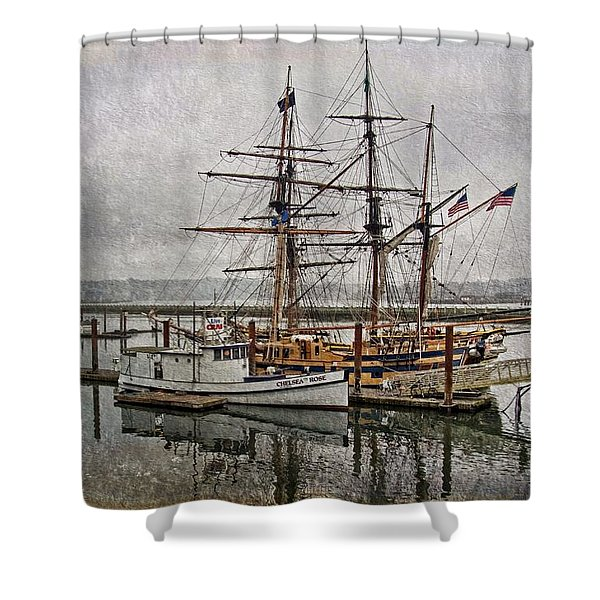 Chelsea Rose And Tall Ships Shower Curtain