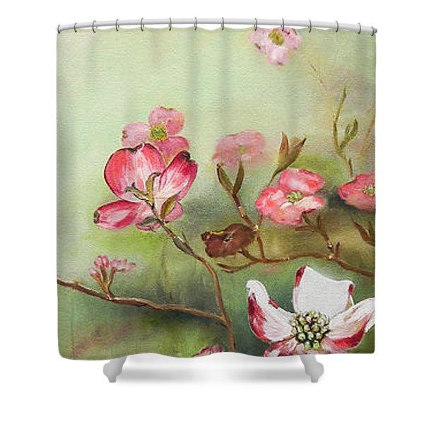 Cherokee Dogwood - Brave- Blushing Shower Curtain
