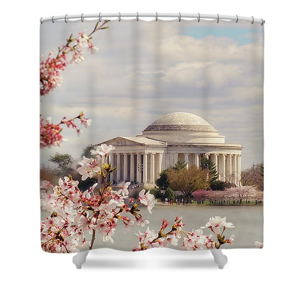 Cherry Blossom And Jefferson Shower Curtain