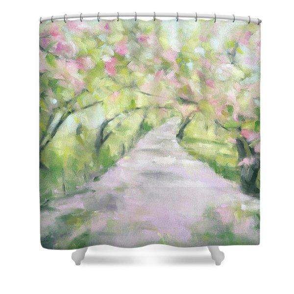Cherry Blossom Bridle Path Central Park Shower Curtain