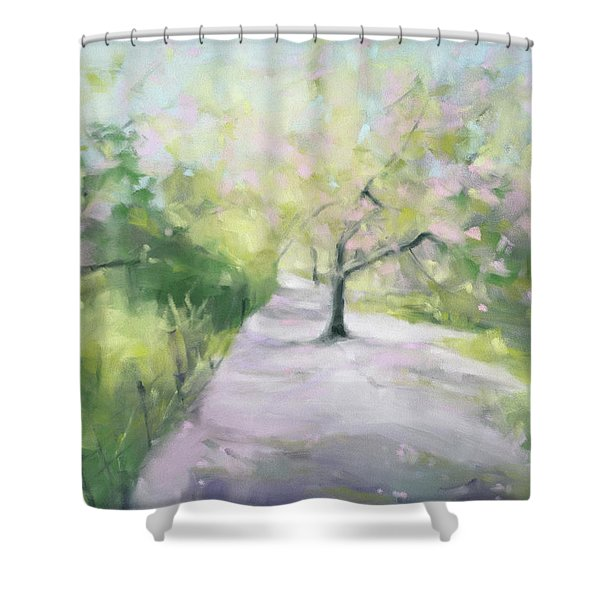 Cherry Blossom Tree Central Park Bridle Path Shower Curtain