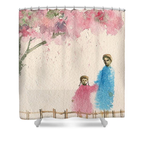 Cherry Blossom Tree Over The Bridge Shower Curtain