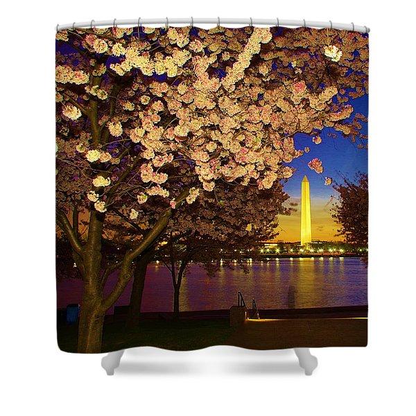 Cherry Blossom Washington Monument Shower Curtain