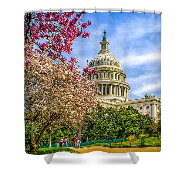 Cherry Blossoms At The Capitol Shower Curtain